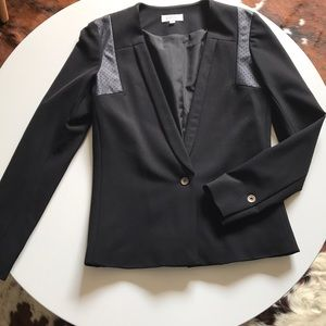 Barneys leather detail blazer
